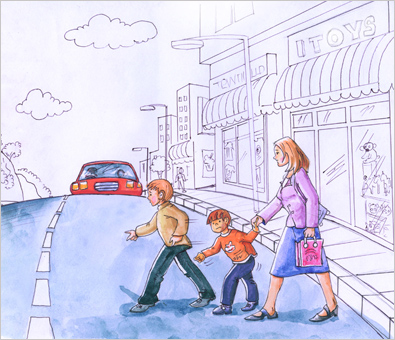 Traffic Awareness Book Illustration