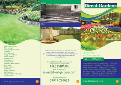 Flyer for garden maintenance company