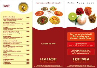 Indian takeaway menu design
